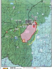 A map of the Tinder Fire on May 5, 2018.