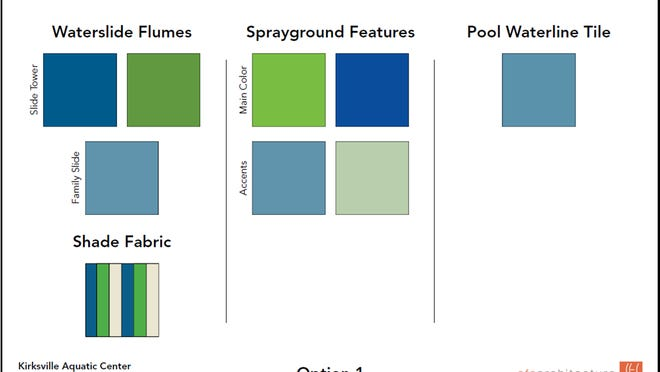 The chosen color palette for the new Aquatic Center.