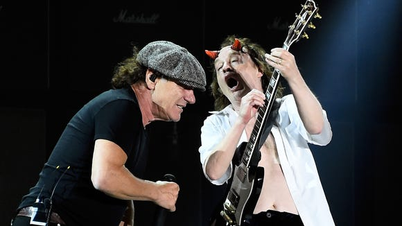 AC/DC performs onstage during day 1 of the 2015 Coachella Valley Music And Arts Festival (Weekend 2) at The Empire Polo Club on April 17, 2015 in Indio, California.