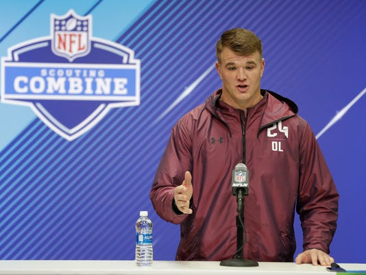 Notre Dame offensive lineman Mike Mcglinchey speaks during a press conference at the NFL football scouting combine, Thursday, March 1, 2018, in Indianapolis. (AP Photo/Darron Cummings)
