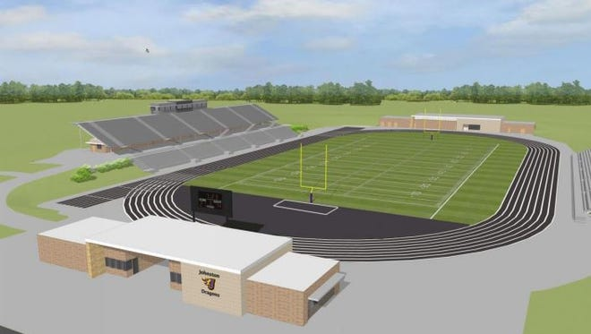 A rendering of a possible new Johnston Stadium at the new high school.