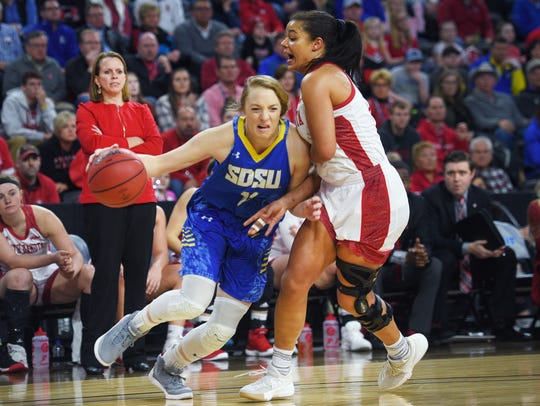 SDSU's Madison Guebert goes against USD's Jasmine Trimboli