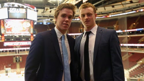Connor McDavid (left) and Jack Eichel (right) will likely be taken Nos. 1 and 2 in the upcoming NHL draft.