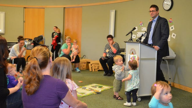 New Castle County Executive Matthew Meyer announces an early childhood reading initiative at the New Castle County Library Kirkwood branch April 20.