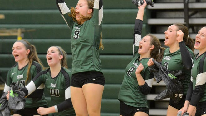 The Novi bench celebrates a point during their its Class A regional semifinal win Tuesday against Walled Lake Central.