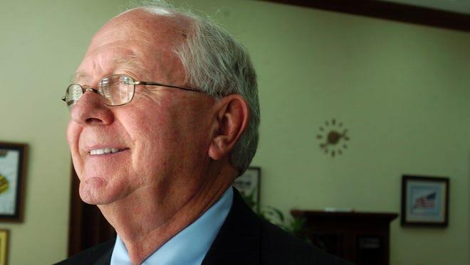 July 12, 2007 -- Dr. Ed Richardson enjoys the view from his Samford Hall office as he remembers his tenure as president of Auburn University Thursday in Auburn, Ala. (Montgomery Advertiser, Julie Bennett)