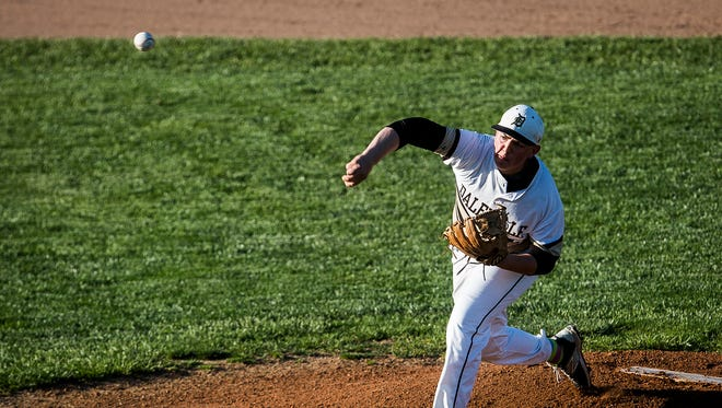 Daleville's Evan Etchison, shown here during the Delaware County Tournament, won his eighth game Monday in helping Daleville to another sectional championship.