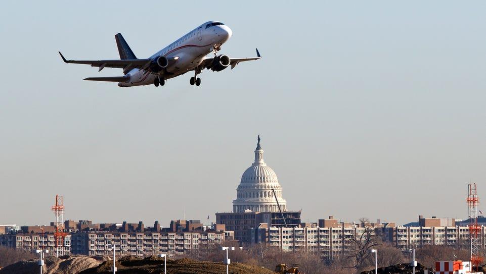An airplane takes off from Ronald Reagan Washington