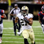 Running back Edwin Baker (27) had the lone touchdown for the Saints in their preseason game Sunday against the Texans.