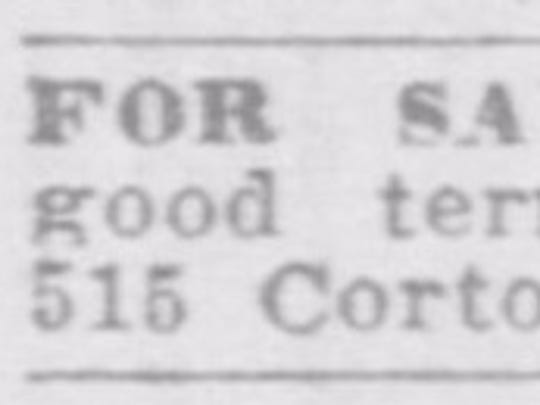 Oct. 4, 1911, classified ad for the property.