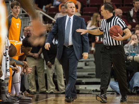 Tennessee head coach Rick Barnes talks to an official during the first half of an NCAA college basketball game against South Carolina Wednesday, Feb. 24, 2016, in Columbia, S.C. South Carolina defeated Tennessee 84-58. (AP Photo/Sean Rayford)