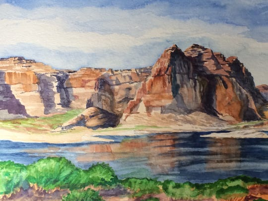 """Her 10""""x14"""" watercolor shows the Wauweep Campground area overlooking Glen Canyon and Lake Powell just above the Glen Canyon dam on the Arizona-Utah border."""
