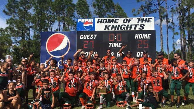 The Cape Youth Lightning won the Peace River Conference championship and advanced to the Pop Warner regional this Saturday at North Fort Myers Community Park.