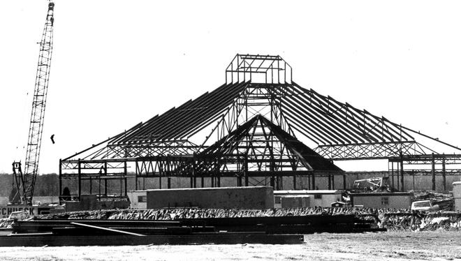 Construction was moving along at Agricenter International in Cordova on Feb. 13, 1985, as the building had begun to take on its distinctive profile.