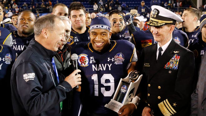 Navy quarterback Keenan Reynolds (19) after being named Most Valuable Player after the Military Bowl in December 2015.