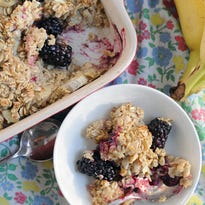 """Banana & Blackberry Baked Oatmeal. """"This baked oatmeal is a life-saver in the make-ahead breakfast department ... It's not complicated and the fruits can be swapped out for whatever you have on hand. It keeps well in the fridge and heats up beautifully in the microwave making this perfect for busy school mornings."""""""