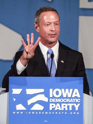 Democratic presidential hopeful, former Maryland Gov. Martin O'Malley, speaks at the Iowa Democratic Party's Hall of Fame Celebration at the Cedar Rapids Convention Center Friday, July 17, 2015.