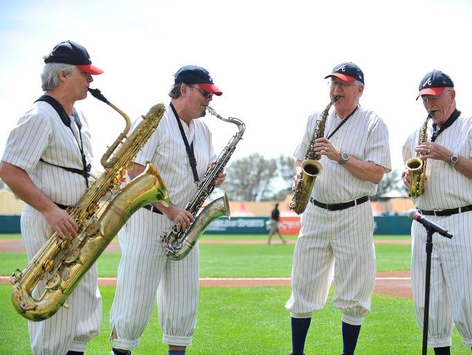 The Atlanta Braves Philharmonic Saxophone Quartet performs