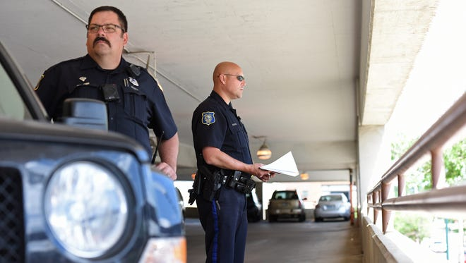 Sioux Falls Police Officers conducted a distracted driving saturation patrol in downtown Sioux Falls, S.D., Wednesday, May 25, 2016.