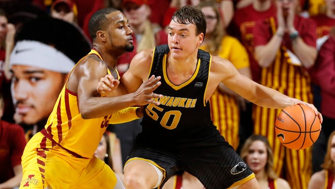 UW-Milwaukee forward Brett Prahl (shown against Iowa State) had 15 points on Saturday night.