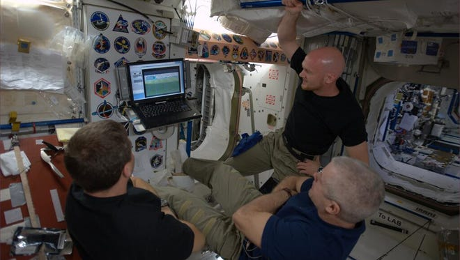 NASA astronauts Reid Wiseman, Steve Swanson and ESA astronaut Alexander Gerst take a break to watch ten minutes of live World Cup matches between science experiments while living and working aboard the International Space Station.