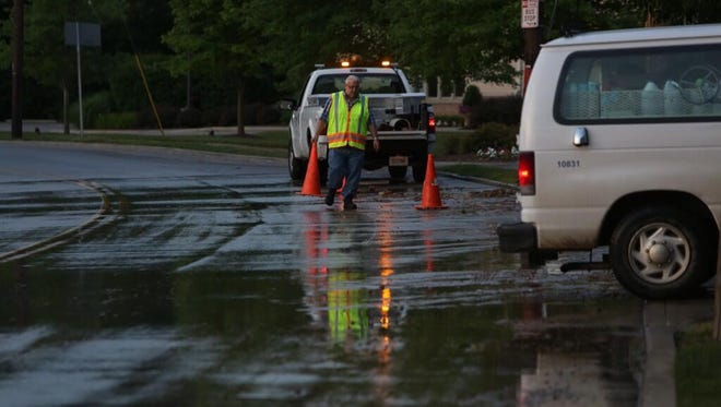 Water main break at Brotherton and Rosslyn in Oakley.