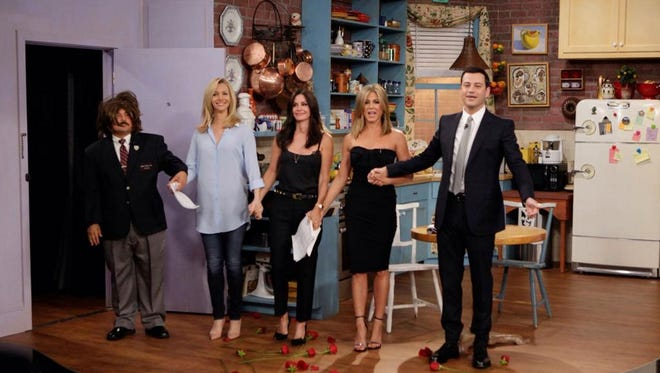 """Lisa Kudrow, Courtney Cox and Jennifer Aniston joined forces for a """"Friends"""" reunion on """"Jimmy Kimmel Live."""""""