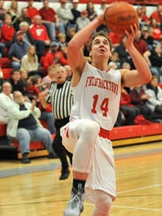Chase Jackson shoots the ball for Fredericktown against