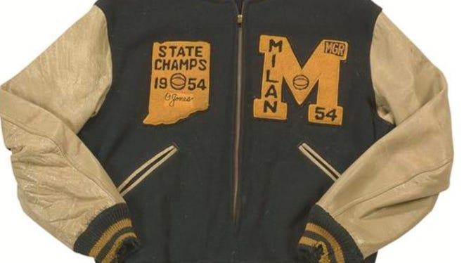 Oliver Jones' letter jacket, up for bid on Lelands.com. Jones was Milan High School's team manager during its 1954 state championship season.