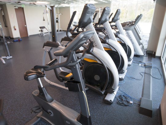 The gymnasium at the new Lids headquarters offers employees