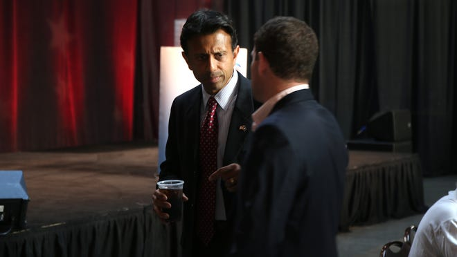 "Louisiana Gov. Bobby Jindal met supporters during the Iowa Faith and Freedom Coalition's ""Friends of the Family Banquet"" last September"