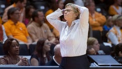 Tennessee head coach Holly Warlick reacts in frustration