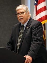 Springfield Mayor Bob Stephens speaks during a press
