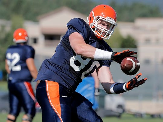 UTEP basketball player turned tight end Cedrick Lang is transitioning nicely and having a good camp in Ruidoso.