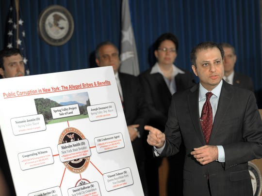 On April 2, 2014, Preet Bharara, U.S. Attorney for the Southern District of New York, announced federal corruption charges as a result of a probe that reached from Albany to Queens, with Spring Valley at its nexus. Among those charged in connection with the far-reaching probe were state Sen. Malcolm Smith, D-Queens; Spring Valley Mayor Noramie Jasmin; and Spring Valley Deputy Mayor Joseph Desmaret.