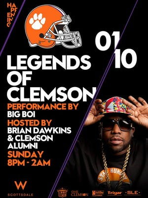 Big Boi will perform at the Legends of Clemson party Sunday night at the W Scottsdale Hotel.