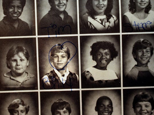 Rose Larner put a heart around the grade school photo