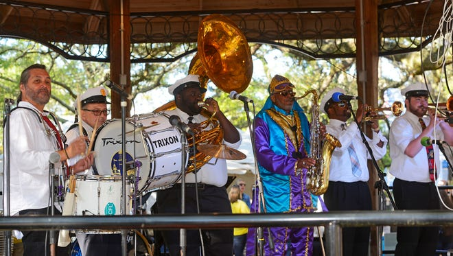 The Village Brass Band perform during a previous Pensacola JazzFest in Seville Square. This year's JazzFest is set for April 7-8.