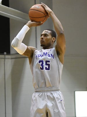 Furman's Daniel Fowler (35) scored 16 points in the Paladins 93-74 loss to Winthrop on Wednesday