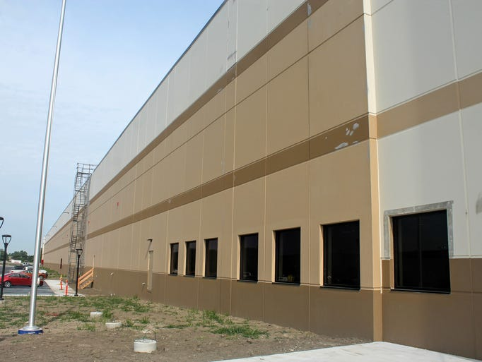 The exterior of the Amazon fulfillment center in Livonia.