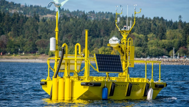 Pacific Northwest National Laboratory is commissioning two of these large buoys, which are decked out with advanced scientific instruments to more accurately predict offshore wind's power-producing potential.