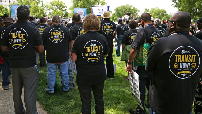 Transit workers rally in May for the Highway Trust Fund.