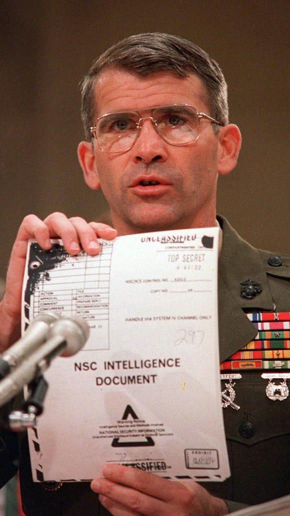 Lt. Col. Oliver North invoked the Fifth Amendment during the Iran-contra hearings in 1987.