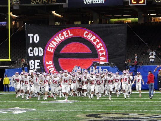 Evangel takes the field before the Division I state