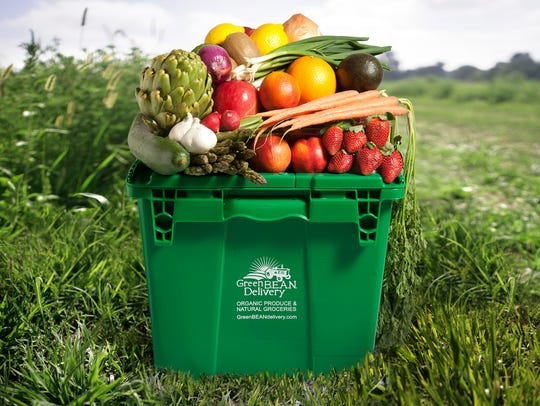 A bin of fresh, organic produce from Green BEAN Delivery.
