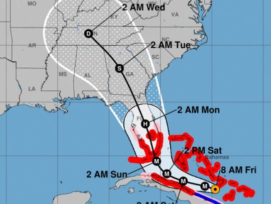 As of 5 a.m. Friday, Hurricane Irma is forecast to