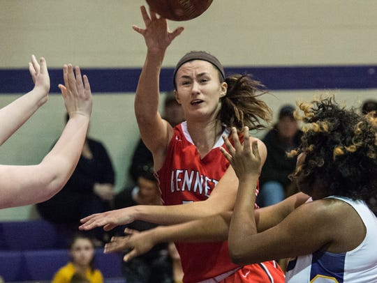 Bennett's Olivia Owens (50) passes the ball during