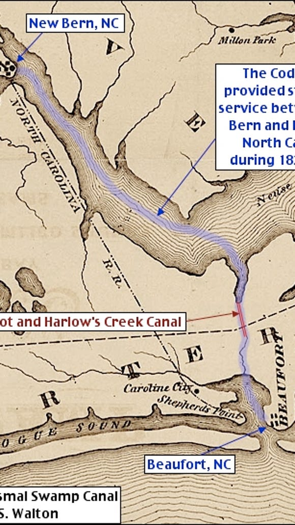 Detail from the 1867 Dismal Swamp Canal Map by D. S. Walton (Wikipedia Public Domain, courtesy of University of North Carolina; Annotations by S. H. Smith, 2015)