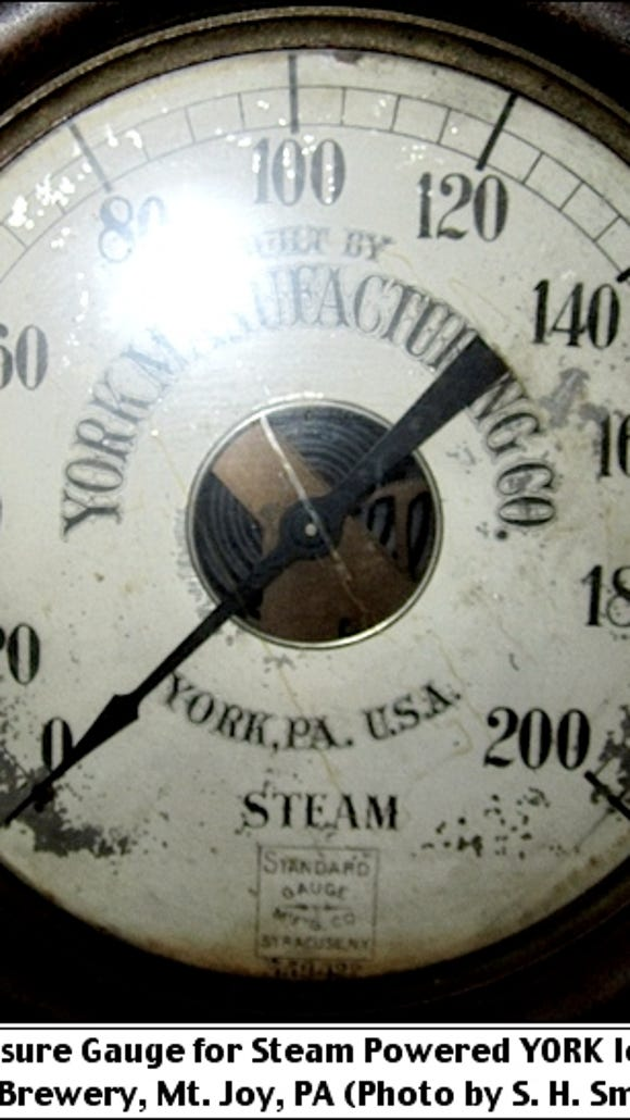 Steam Pressure Gauge for Steam Powered YORK Ice Machine; A. Bube's Brewery, Mount Joy, PA (Photo by S. H. Smith, 2016)