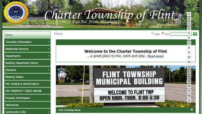 Home page of Flint Township's website.